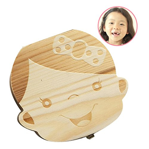 Babys First Tooth Box (Baby Tooth Box First Curl Box First Haircut Keepsake Tooth Fairy Wooden Box Personalized Tooth Holder (girl))