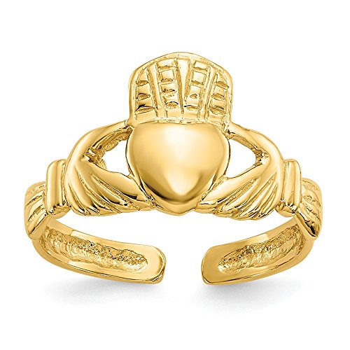 14k Ring Toe Celtic (14k Yellow Gold Irish Claddagh Celtic Knot Adjustable Cute Toe Ring Set Fine Jewelry Gifts For Women For Her)