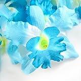 """(8) Blue Hawaiian Cattleya Silk Flower Heads - 3.5"""" - Artificial Flowers Heads Fabric Floral Supplies Wholesale Lot for Wedding Flowers Accessories Make Bridal Hair Clips Headbands Dress"""
