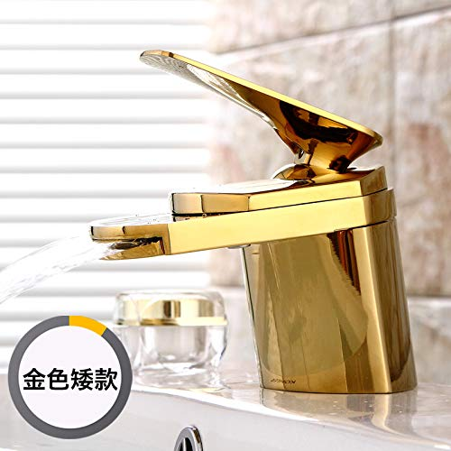 The Copper gold (Low) Hlluya Professional Sink Mixer Tap Kitchen Faucet All copper waterfall basin mixer single hole and cold water on tap basin sink wash basin mixer, full copper silver low