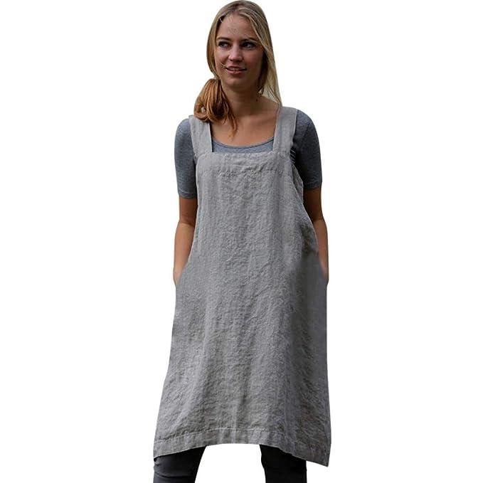 Amazon.com: Charmsamx - Delantal de lino y algodón suave ...