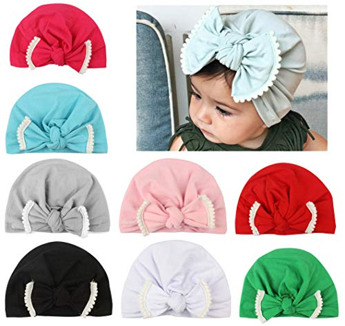Qandsweat Baby Girl Hats Knotted Hair Bow Style Lace Flower Cap 6-36M (Mix 8 Colors)
