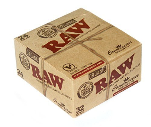 RAW CONNOISSEUR size King SIze Unrefined ORGANIC Hemp Rolling papers + TIPS - 1 Box by Raw