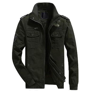 Vertvie Herren Militärjacke Winter Casual Plus Samt Jacken Military Jacken(Armee-Grün,  M 6be437ff4c