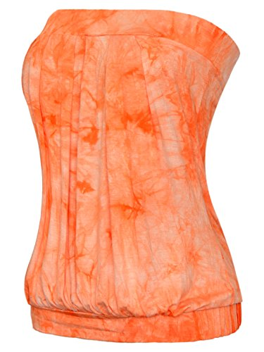 Maggie Tang Women's Modal Pleated Tube Top Orange&White S