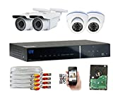 GW Security 1080P HD Over Analog (HD-AHD) 4CH Video Security Camera System – Four 2.1 MP Sony Cmos Weatherproof Bullet & Dome Cameras, Realtime Recording 1080p @ 30fps, Pre-Installed 1TB HDD