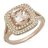 14K Rose Gold Cushion Morganite And Round White Diamond Halo Bridal Engagement Ring (Size 6)
