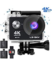 LS-SKY 4K Action Camera Wi-Fi 16MP Full HD 1080P Waterproof Cam with Remote Control with SONY Sensor Waterproof up to 30m 2.0'' LCD 170° Ultra Wide-Angle with Kit of Accessories