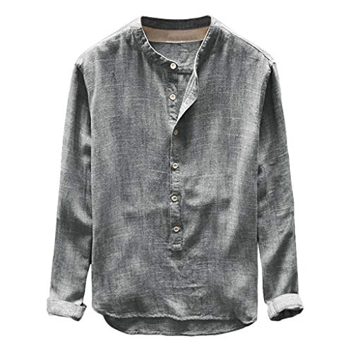 - TIFENNY Fashion Spring Shirt for Mens Autumn Button Casual Linen and Cotton Long Sleeve Round Neck Top Blouse Pullover Gray