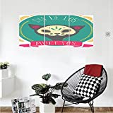 Liguo88 Custom canvas Mexican Decorations Dead Themed Sugar Cat Skull Mask in Gold Circle Frame with Spanish Words Wall Hanging for Bedroom Living Room Teal Pink