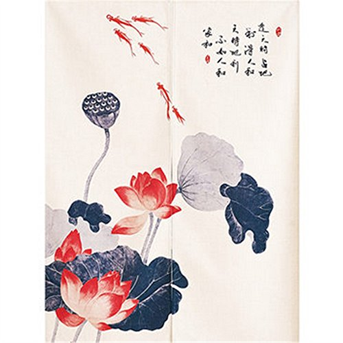 BAIHT HOME Cotton Linen Door Curtain Lotus Pond Pattern Japanese Noren Curtain Tapestry Bedroom Divider Doorway Curtain 33.5