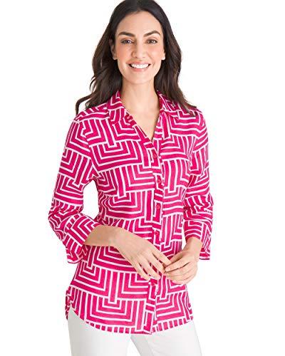 - Chico's Women's No-Iron Linen Maze-Print Shirt Size 8 M (1) Pink