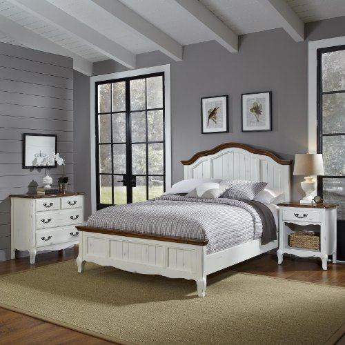 Home Styles 5518-5019 The French Countryside Queen Bed, Night Stand and Chest -