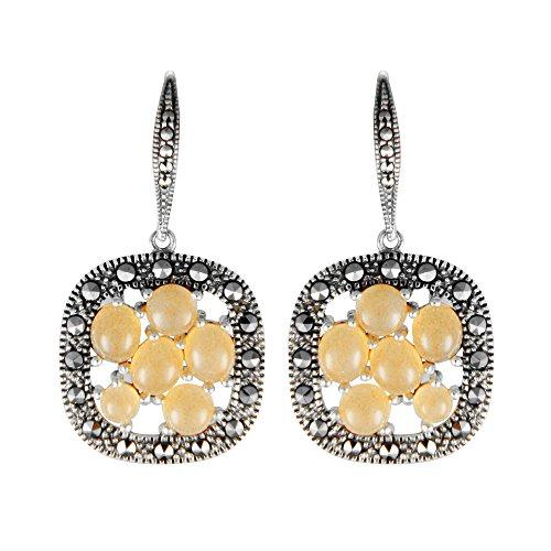 - Aura by TJM Sterling Silver Semi 4.00 cts Cabochon Cut Peach Moonstones & Marcasite Dangle Earrings