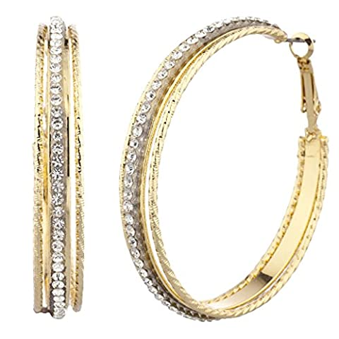 Lux Accessories Large Goldtone and Crystal Pave Single Row Cutout Hoop Earrings
