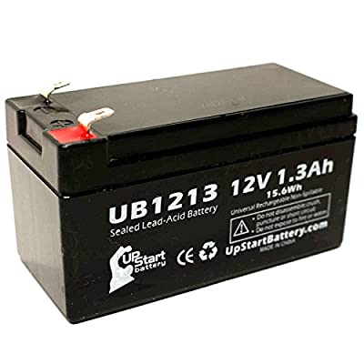 Schiller America SP1 SPIROMETER Battery - Replacement UB1213 Universal Sealed Lead Acid Battery (12V, 1.3Ah, 1300mAh, F1 Terminal, AGM, SLA) - Includes TWO F1 to F2 Terminal Adapters