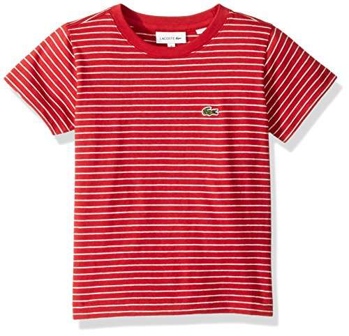 Lacoste Little Boy Short Sleeve Striped Tee Shirt, Lighthouse RED/PLUVIER CH 4