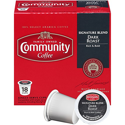 Community Coffee Signature Blend Dark Roast Single Serve, 18 Ct Box, Compatible with Keurig 2.0 K Cup Brewers, Full Body Bold Taste, 100% Arabica Coffee Beans