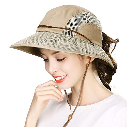 (Ponytail Fishing Bucket Sun Hat for Women UV Protection Packable Foldable Wide Brim SPF Hunting Ladies Safari Sunhat)