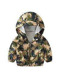 Evelin LEE Baby Jacket Outwear Dinosaur Zipper Casual Spring Lined Windproof Hooded Coat