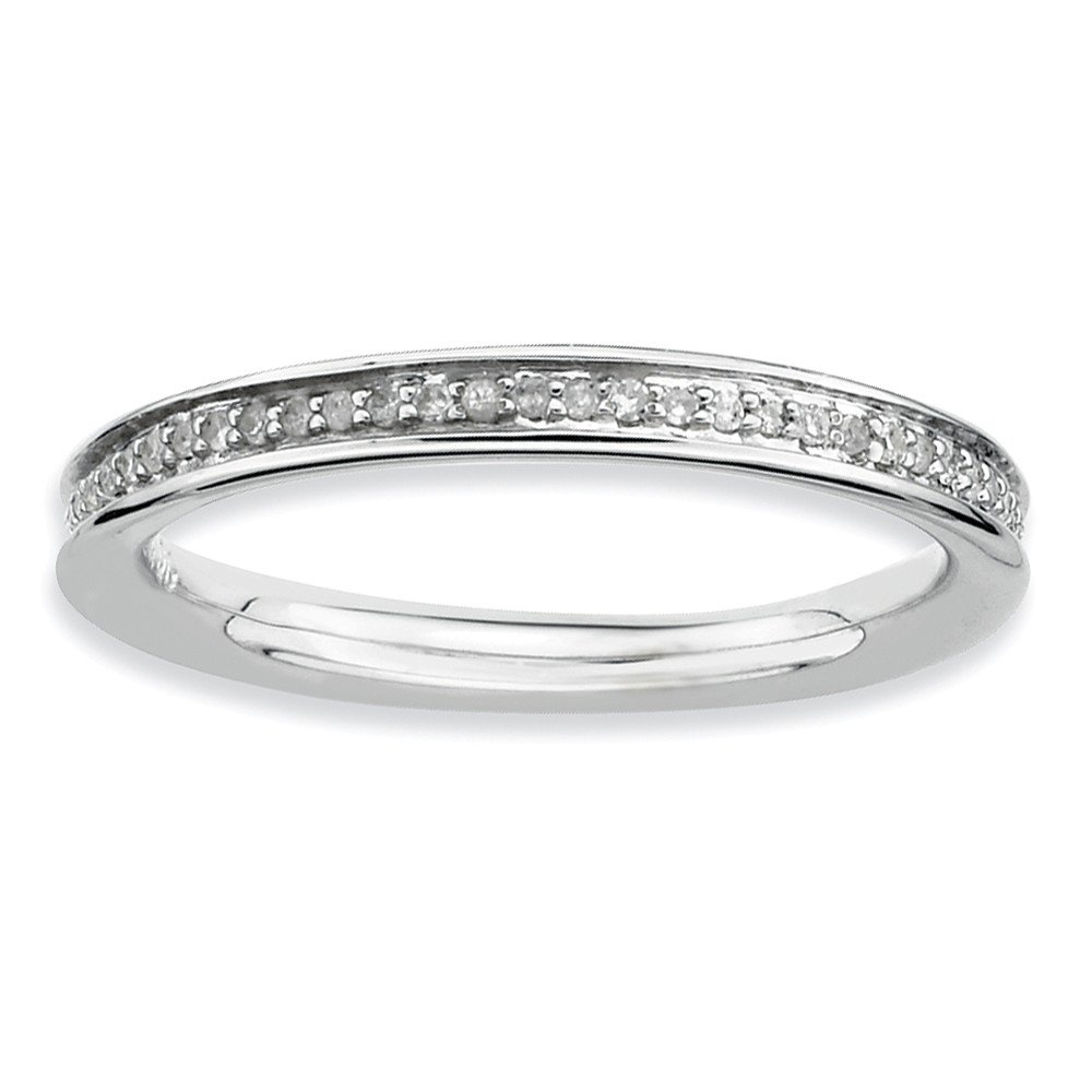 Size 8 - Solid 925 Sterling Silver Stackable Expressions & Diamonds Polished Ring (2.3mm) (1/5ct.)