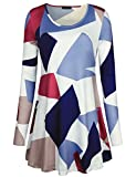 Laksmi Plus Size Tops Long Sleeve Blouse Tunic Scoop Neck A Line Loose Casual Winter Geometirc Printed Business ClothesBRD XX-L