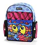 Romero Britto Microfiber Deeply in Love Fish Couple Backpack, Bags Central