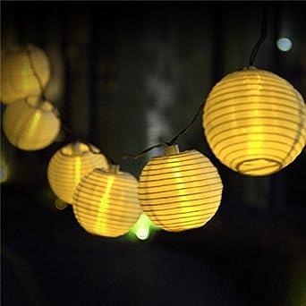 Uping Guirnalda Luminosa LED, 20 Farolillos 4.5 m, Energía Solar, Decoración Exterior y Interior para Fiesta/Boda/Ceremonia/Jardín/Casa (Blanco): Amazon.es: Iluminación