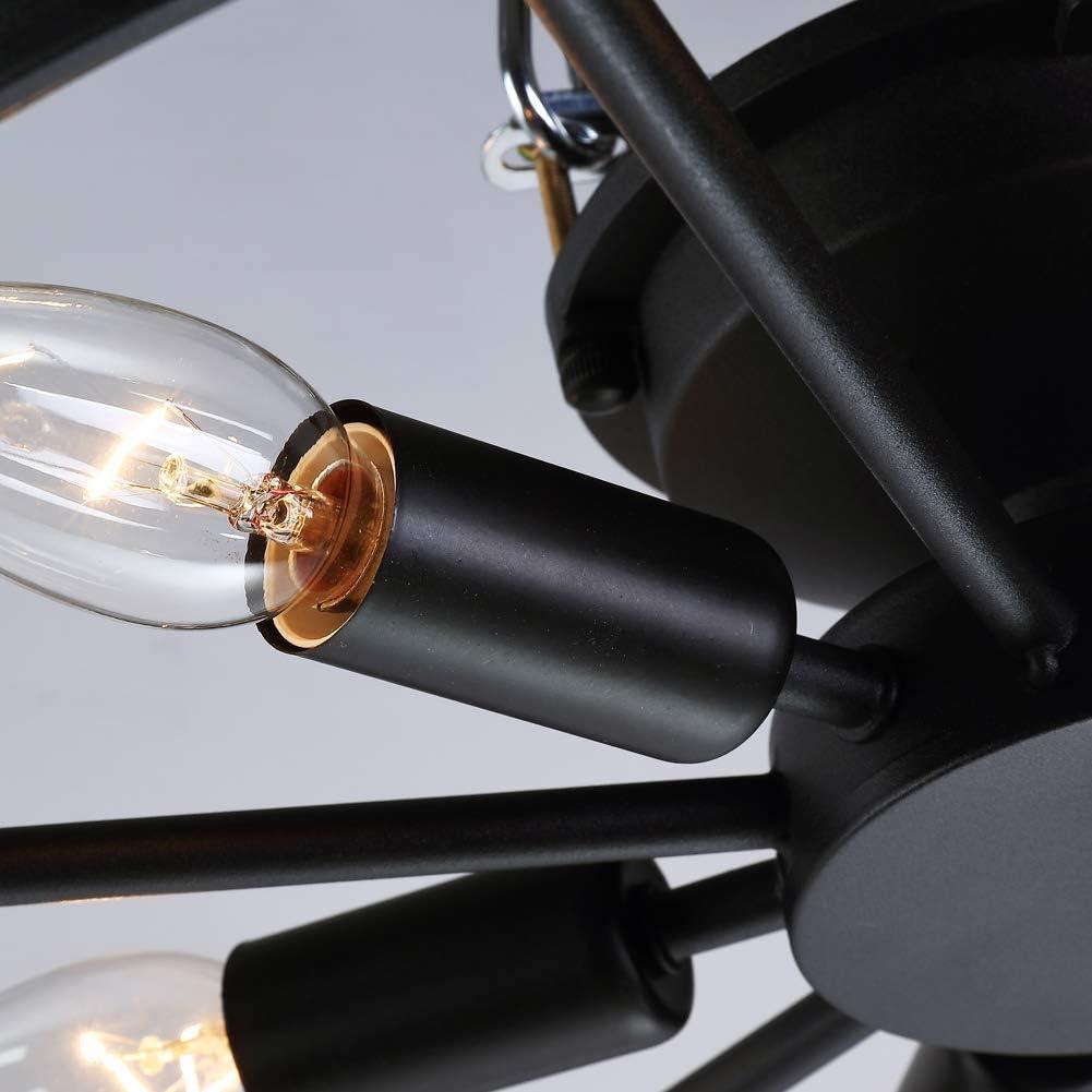 Vintage Deckenleuchte Schwarz Deckenlampe Runde Retro Schlafzimmer Wohnzimmer Antik Industry Ring Design luster Kreative Decorative E14 Deckenstrahler Eisen 40W Lampeschirm Bar Cafe Ø46cm (6-flammig) 8-flammig