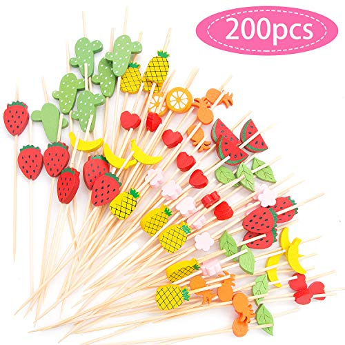 MMTX Cocktail Picks 200pcs 4.72inch Handmade Assorted Fruits Bamboo Toothpicks for Party Drink Fruit Dessert Food Appetizers Decoration