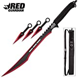 #7: Red Guardian Ninja Sword and Kunai / Throwing Knife Set with Sheath