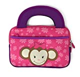 iPad Mini Slim Tablet Case Kids - Universal Neoprene Carrying Bag Tote Dual Handles Boy Girl - Zipper Sleeve will fit most 6 7 Inch devices Water Scratch Dust Proof (Princess Pink Monkey)