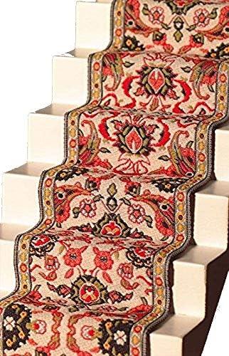 メロディージェーンドールズハウス織り階段カーペットランナーレッドグリーンミニチュアフローリング