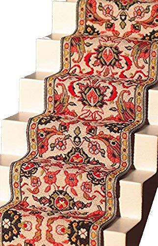 Melody Jane Dollhouse Woven Stair Carpet Runner Red Green Miniature Flooring
