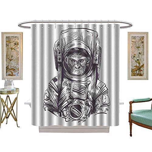 vanfan Shower Curtains Waterproof Mkey Vintage American Spacesuit Wild Gorilla Invasi of Ethereal Home Fabric Bathroom Decor Set with -