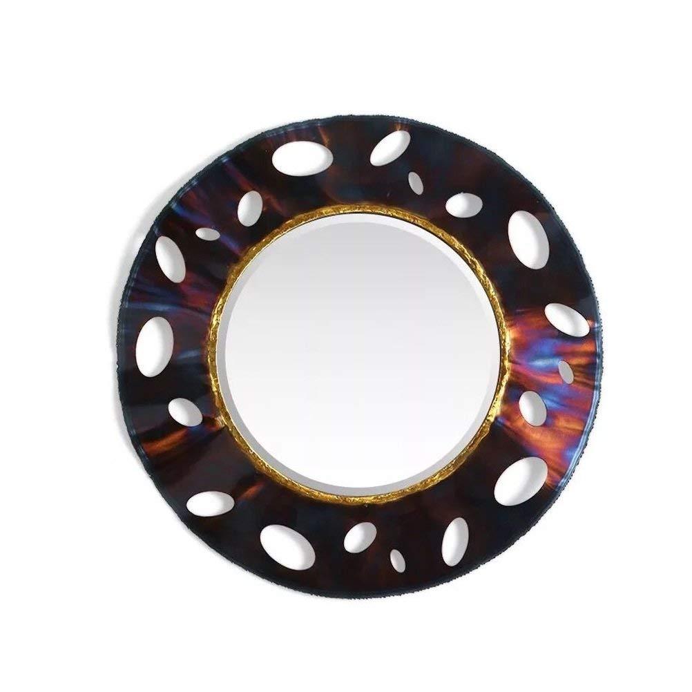 ホームデコレーションミラー 現代のクリエイティブ壁掛けラウンドミラー美容院化粧鏡入り口アートミラー鉄の壁の装飾 家の装飾のためのミラー   B07MLVMDBN