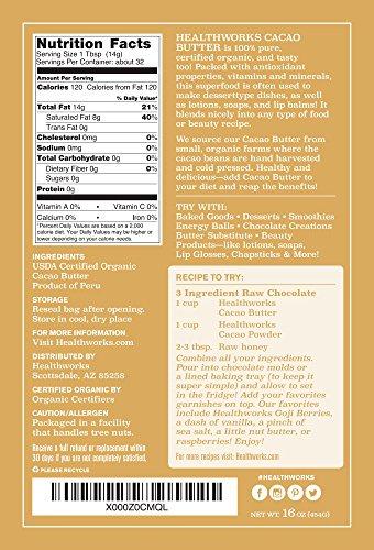 Amazon.com   Healthworks Cacao Butter Raw Organic, 2lb (2 1lb)   Grocery    Gourmet Food e9a71aa619a