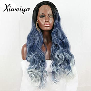 Xiweiya Blonde and Blue Wavy Wig Synthetic Lace Front Wigs wavy Dark root  Heat Resistant Fiber a923a57fd507