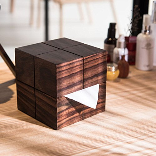 Luxury Square Tissue Box Cover Holder, Premium Rosewood Napkin Dispenser, Decorative Bathroom Tissue Paper Napkin Holder Box, Rosewood Facial Tissue Box Holder Cover (Brown)