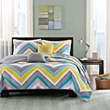 4 Piece Tropical Geometric Chevron Patterned Coverlet Set Twin/Twin XL Size, Printed Bright Pastel Geo Zigzag Bedding, Classic Modern Artwork Design, Vibrant Bold Zig Zag Herringbones, Yellow, Purple