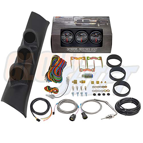 GlowShift Diesel Gauge Package for 1994-1997 Dodge Ram Cummins 2500 3500 - Black 7 Color 60 PSI Boost, 1500 F Pyrometer EGT & Transmission Temp Gauges - Black Triple Pillar Pod