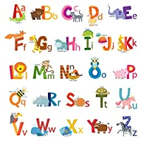 Decowall Animal Alphabet ABC Kids Wall Decals Wall Stickers Peel and Stick Removable Wall Stickers for Kids Nursery Bedroom Living Room(1503A 8002)