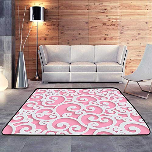 Rubber mat,Pink Vector d Floral Damask W 59