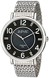 August Steiner Men's AS8138SSB Diamond-Accented Silver-Tone Watch with Mesh Bracelet