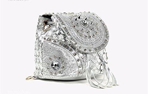 Las mujeres del doble bolso de cuero pu moda bolso doble bolsa tejida tipo cadena bolsa con flecos de elevación, 21*21*16cm,B C