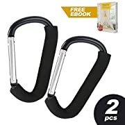 Stroller Clips for Diaper Bags, Hook Shopping Bag Groceries Backpack Purses on Stroller Pram and Pushchair, Baby Accessories Organizer for Mom and Dad, X-Large, Holds 6.6 lbs, Universal Fit, 2 pack