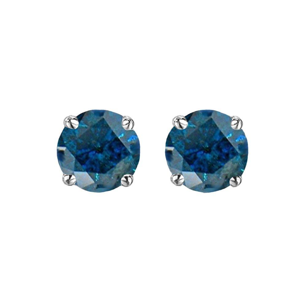 0.50 Carat (ctw) Sterling Silver Round Cut Blue Diamond Ladies Stud Earrings 1/2 CT