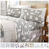 Home Fashion Designs Stratton Collection Extra Soft Printed 100% Turkish Cotton Flannel Sheet Set. Warm, Cozy, Lightweight, Luxury Winter Bed Sheets Brand. (Full, Grey Polar Bears)