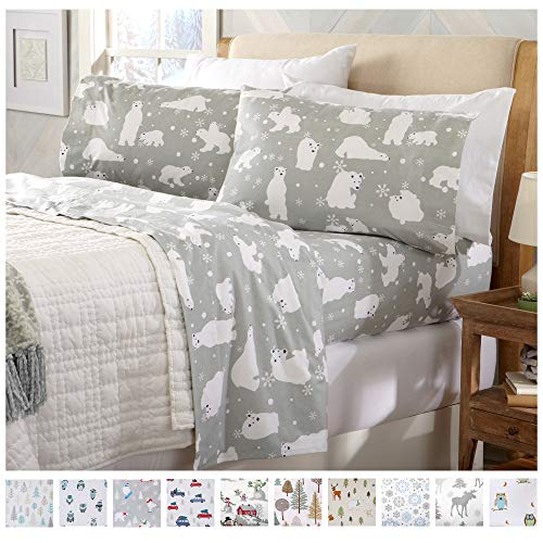 Home Fashion Designs Stratton Collection Extra Soft Printed 100% Turkish Cotton Flannel Sheet Set. Warm, Cozy, Lightweight, Luxury Winter Bed Sheets Brand. (Full, Grey Polar Bears) (Sheets Flannel Sale)