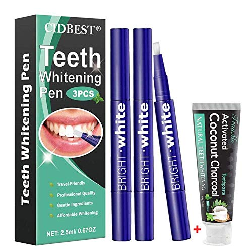 Teeth Whitening Pen, Teeth Whitening Gel, Teeth Whitening Kit, Effective& Painless, Beautiful White Smile - Including Activated Charcoal Toothpaste - 4Pack